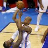 Oklahoma City\'s Caron Butler (2) gets called for an offensive foul as he runs into Los Angeles\' Glen Davis (0) during Game 1 of the Western Conference semifinals in the NBA playoffs between the Oklahoma City Thunder and the Los Angeles Clippers at Chesapeake Energy Arena in Oklahoma City, Monday, May 5, 2014. Photo by Bryan Terry, The Oklahoman
