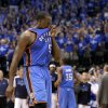 Oklahoma City\'s Kendrick Perkins (5) back to the bench after losing game 1 of the Western Conference Finals in the NBA basketball playoffs between the Dallas Mavericks and the Oklahoma City Thunder at American Airlines Center in Dallas, Tuesday, May 17, 2011. Photo by Bryan Terry, The Oklahoman