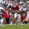 Oklahoma\'s Blake Bell (10) runs during a college football game between the University of Oklahoma Sooners (OU) and the Texas Tech Red Raiders at Gaylord Family-Oklahoma Memorial Stadium in Norman, Okla., on Saturday, Oct. 26, 2013. Photo by Bryan Terry, The Oklahoman