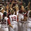 Alabama celebrates during Game 3 of the Women\'s College World Series softball championship between OU and Alabama at ASA Hall of Fame Stadium in Oklahoma City, Wednesday, June 6, 2012. Photo by Garett Fisbeck, The Oklahoman