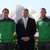 Photo - Australia's soccer coach Ange Postecoglou, center, poses for a photo with players Mark Milligan, left, and Ivan Franjic after announcing the 30-man World Cup squad in Sydney, Australia Wednesday, May 14, 2014. Australia faces defending champion Spain, 2010 runner-up Netherlands and Chile in a tough group in Brazil. (AP Photo/Rick Rycroft)
