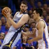 Oklahoma City\'s Steven Adams (12) defends Memphis\' Marc Gasol (33) during Game 7 in the first round of the NBA playoffs between the Oklahoma City Thunder and the Memphis Grizzlies at Chesapeake Energy Arena in Oklahoma City, Saturday, May 3, 2014. Photo by Nate Billings, The Oklahoman