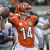 Cincinnati Bengals quarterback Andy Dalton (14) passes against the Dallas Cowboys in the first half of an NFL football game, Sunday, Dec. 9, 2012, in Cincinnati. (AP Photo/Michael Keating)