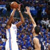 Oklahoma City\'s Kevin Durant shoots over Memphis\' Tayshaun Prince during Game 2 in the second round of the NBA playoffs between the Oklahoma City Thunder and the Memphis Grizzlies at Chesapeake Energy Arena In Oklahoma City, Tuesday, May 7, 2013. Photo by Bryan Terry, The Oklahoman