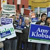 Supporters hold signs for a DFL rally near the River\'s Edge Convention Center in St. Cloud, Minn., Saturday, Nov. 3, 2012. (AP Photo/The St. Cloud Times, Dave Schwarz) NO SALES