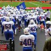 HIGH SCHOOL FOOTBALL PLAYOFFS: The Millwood Falcons take the field before the Class 2A semifinals between Millwood and Hennessey in Yukon, Saturday, December 3 2011. PHOTO BY HUGH SCOTT, FOR THE OKLAHOMAN ORG XMIT: KOD