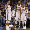 Oklahoma City\'s Thabo Sefolosha (2), Kevin Durant (35), and Russell Westbrook (0) call for help after Oklahoma City\'s Serge Ibaka (9) was injured during an NBA basketball game between the Oklahoma City Thunder and the Denver Nuggets at Chesapeake Energy Arena in Oklahoma City, Tuesday, March 19, 2013. Denver won 114-104. Photo by Bryan Terry, The Oklahoman
