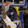 Golden State Warriors\' Dominic McGuire scores against the Los Angeles Lakers during the first half of an NBA basketball game Wednesday, April 18, 2012, in Oakland, Calif. (AP Photo/Ben Margot)