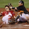 OSU\'s Jared Womack tags out OU\'s Eric Ross at home in the seventh inning of the Bedlam college baseball game between the University of Oklahoma and Oklahoma State University at RedHawks Field at Bricktown in Oklahoma City, Saturday, April 16, 2011. Photo by Bryan Terry, The Oklahoman