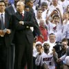 Miami\'s LeBron James reacts as he watches a free throw in the final seconds of Game 4 of the NBA Finals between the Oklahoma City Thunder and the Miami Heat at American Airlines Arena, Tuesday, June 19, 2012. Oklahoma City lost 104-98. Photo by Bryan Terry, The Oklahoman
