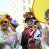 Mariette Pathy Allen, right, and others talk with other participants in the Easter Day parade along New York\'s Fifth Avenue on Sunday, April 24, 2011. (AP Photo/Tina Fineberg)