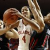 Oklahoma\'s Nicole Griffin (4) goes inside against Texas Tech\'s Kelsi Baker (41) and Casey Morris (15) during an NCAA college basketball game on Saturday, Jan. 12, 2013, in Norman, Okla. (AP Photo/The Oklahoman, Steve Sisney) LOCAL TV OUT (KFOR,KOCO,KWTV,KOKH, KAUT OUT); LOCAL INTERNET OUT; LOCAL PRINT OUT (EDMOND SUN, NORMAN TRANSCRIPT, OKLAHOMA GAZETTE, SHAWNEE NEWS-STAR THE JOURNAL RECORD OUT); TABLOIDS OUT ORG XMIT: OKOKL101