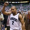 Utah Jazz\'s Derek Fisher walks off the court after a second-round playoff NBA basketball game against the Golden State Warriors, Wednesday, May 9, 2007, in Salt Lake City. The Jazz won 127-117 in overtime. (AP Photo/Steve C. Wilson)