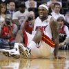 Miami\'s LeBron James (6) reatcs after an injury during Game 4 of the NBA Finals between the Oklahoma City Thunder and the Miami Heat at American Airlines Arena, Tuesday, June 19, 2012. Oklahoma City lost 104-98. Photo by Bryan Terry, The Oklahoman