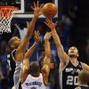 San Antonio\'s Tim Duncan (21) and Manu Ginobili (20) defend Oklahoma City\'s Russell Westbrook (0) during Game 3 of the Western Conference Finals between the Oklahoma City Thunder and the San Antonio Spurs in the NBA playoffs at the Chesapeake Energy Arena in Oklahoma City, Thursday, May 31, 2012. Photo by Nate Billings, The Oklahoman