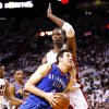 Oklahoma City\'s Nick Collison (4) drives to the baskets as Miami\'s Chris Bosh (1) defends during Game 4 of the NBA Finals between the Oklahoma City Thunder and the Miami Heat at American Airlines Arena, Tuesday, June 19, 2012. Photo by Bryan Terry, The Oklahoman