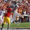 Oklahoma\'s D.J. Wolfe (25) intercepts a pass for Iowa State\'s R.J Sumrall (5) in the endzone to seal the 17-7 win over the Cyclones during the second half of the college football game between the University of Oklahoma Sooners (OU) and the Iowa State University Cyclones (ISU) at Jack Trice Stadium on Saturday, Oct. 20, 2007, in Ames, Iowa. By CHRIS LANDSBERGER, The Oklahoman