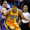 New Orleans Hornets power forward Anthony Davis (23) drives against Oklahoma City Thunder guard Kevin Martin (23) during the first half of an NBA basketball game in New Orleans, Friday, Nov. 16, 2012. (AP Photo/Jonathan Bachman) ORG XMIT: LAJB106