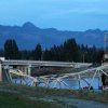 In this photo provided by Francisco Rodriguez, the scene were the Interstate 5 bridge collapsed into the Skagit River is seen at dusk Thursday, May 23, 2013, in Mount Vernon, Wash. (AP Photo/Francisco Rodriguez)
