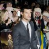 US actor Taylor Lautner arrives for the UK premiere of \'Twilight Breaking Dawn Part 1\' at a central London venue, Wednesday, Nov. 16, 2011. (AP Photo/Jonathan Short) ORG XMIT: LJS109