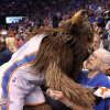 Leola Boyd, the OKC Thunder fan who had hoped to raise money to keep James Harden in Oklahoma City meets Rumble the Bison at the OKC Thunder\'s home opener on Friday, Nov. 2 in Chesapeake Energy Arena in Oklahoma City, Okla. Here\'s the story from the evening from Berry Tramel.