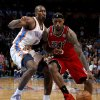 Miami\'s LeBron James (6) goes past Oklahoma City\'s Serge Ibaka (9) during an NBA basketball game between the Oklahoma City Thunder and the Miami Heat at Chesapeake Energy Arena in Oklahoma City, Thursday, Feb. 15, 2013. Miami won 110-100. Photo by Bryan Terry, The Oklahoman