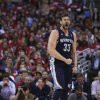 Memphis Grizzlies\' Marc Gasol, of Spain, reacts to his basket and a foul call on the Los Angeles Clippers during the first half in Game 5 of a first-round NBA basketball playoff series in Los Angeles, Tuesday, April 30, 2013. (AP Photo/Jae C. Hong) ORG XMIT: LAS101