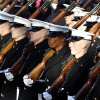 Members of the Marine Corps march in President Barack Obama\'s inaugural parade in Washington, Monday, Jan. 21, 2013, following the president\'s ceremonial swearing-in ceremony during the 57th Presidential Inauguration. (AP Photo/Jose Luis Magana) ORG XMIT: DCJL122