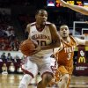 Oklahoma\'s Jordan Woodard (10) drives to the lane with Texas Longhorn\'s Javan Felix (3) trailing as the University of Oklahoma Sooners (OU) men play the Texas Longhorns (TU) in NCAA, college basketball at The Lloyd Noble Center on Saturday, March 1, 2014 in Norman, Okla. Photo by Steve Sisney, The Oklahoman