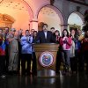 Photo - In this photo released by Miraflores Press Office, Venezuela's Vice-President Nicolas Maduro, center, accompanied by other members of the cabinet, delivers a speech at the presidential palace in Caracas, Venezuela, Tuesday, Dec. 11, 2012. Maduro said on Venezuelan television Chavez was recovering in Cuba after an operation targeting an aggressive cancer that has defied multiple treatments. The operation was