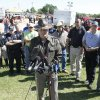 Photo - TORNADO / DEATH / CHILD / RECOVERY / OHP: Oklahoma Highway Patrol Capt. Chris West makes an announcement that the body of missing three-year-old Ryan Hamil had been found and recovered in Piedmont, OK, Thursday, May 26, 2011. Ryan has been missing since a tornado struck his family's home on Tuesday, May 24, 2011.By Paul Hellstern, The Oklahoman ORG XMIT: KOD