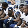 Photo -   St. Louis Rams players sit on the bench in the closing minutes of their 23-6 loss to the Chicago Bears in an NFL football game in Chicago, Sunday, Sept. 23, 2012. (AP Photo/Charles Rex Arbogast)