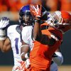 Oklahoma State\'s Josh Stewart (5) makes a one handed catch that was called back on a penalty during a college football game between the Oklahoma State University Cowboys (OSU) and the Texas Christian University Horned Frogs (TCU) at Boone Pickens Stadium in Stillwater, Okla., Saturday, Oct. 19, 2013. Photo by Chris Landsberger, The Oklahoman