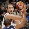 Nenead Krstic (12) of Oklahoma City keeps the ball away from Al Horford (15) of Atlanta during the NBA basketball game between the Atlanta Hawks and the Oklahoma City Thunder at the Ford Center in Oklahoma City, Tuesday, February 2, 2010. The Thunder won, 106-99. Photo by Nate Billings, The Oklahoman