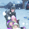 Four Hill kids sledding in Sunday evening snowfall at Sayre. We received 4-6 inches of snow! Photo taken by Brad Spitzer of Sayre