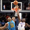 Oklahoma City\'s Serge Ibaka (9) blocks New Orleans\' David West (30) shot during the NBA basketball game between Oklahoma City Thunder and New Orleans Hornet, Wednesday, Feb. 2, 2011 at the Oklahoma City Arena. Photo by Sarah Phipps, The Oklahoman