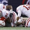 Oklahoma\'s Austin Box (12) recovers a fumble forced by Jeremy Beal (44) and Pryce Macon (94) on Nebraska\'s Taylor Martinez (3) during the Big 12 football championship game between the University of Oklahoma Sooners (OU) and the University of Nebraska Cornhuskers (NU) at Cowboys Stadium on Saturday, Dec. 4, 2010, in Arlington, Texas. Photo by Chris Landsberger, The Oklahoman