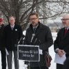 Photo - Minnesota state Sen. Scott Dibble addresses the media at a rail yard in St. Paul., Minn., Wednesday, Feb. 12, 2014, about the Minnesota Oil Spill Defense Act that he and Rep. Frank Hornstein, right, will bring to the capitol in St. Paul.  Recent crude oil train catastrophes in North Dakota and Canada show that Minnesota needs to beef up its ability to protect its communities from similar disasters.  (AP Photo/The Star Tribune, Kyndell Harkness)  MANDATORY CREDIT; ST. PAUL PIONEER PRESS OUT; MAGS OUT; TWIN CITIES TV OUT