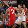Oklahoma City \'s Nick Collison (4) defends on Houston\'s Daequan Cook (14) during the NBA basketball game between the Houston Rockets and the Oklahoma City Thunder at the Chesapeake Energy Arena on Wednesday, Nov. 28, 2012, in Oklahoma City, Okla. Photo by Chris Landsberger, The Oklahoman