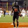 Oklahoma State\'s Justin Blackmon (81) celebrates a touchdown during the Fiesta Bowl between the Oklahoma State University Cowboys (OSU) and the Stanford Cardinal at the University of Phoenix Stadium in Glendale, Ariz., Monday, Jan. 2, 2012. Photo by Sarah Phipps, The Oklahoman
