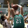 Stonewall\'s Breann Gipson shoots over Okarche\'s Madison Lee during the girls class A basketball playoffs at Southern Nazarene University\'s Sawyer Center in Bethany, OK, Thursday, March 1, 2012. By Paul Hellstern, The Oklahoman
