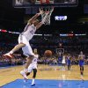 Oklahoma City\'s Kevin Martin (23) dunks the ball during an NBA basketball game between the Oklahoma City Thunder and the Golden State Warriors at Chesapeake Energy Arena in Oklahoma City, Wednesday, Feb. 6, 2013. Photo by Bryan Terry, The Oklahoman