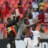 Ghana\'s captain Asamoah Gyan, center, and teammates celebrate winning the quarter final African Cup of Nations soccer match against Cape Verde at the Nelson Mandela Bay Stadium in Port Elizabeth, South Africa, Saturday Feb. 2, 2013. (AP Photo/Themba Hadebe)