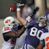 Oklahoma State\'s Johnny Thomas 912) breaks up a pass for Kansas State\'s Travis Tannahill (80) during the second half of the college football game between the Oklahoma State University Cowboys (OSU) and the Kansas State University Wildcats (KSU) on Saturday, Oct. 30, 2010, in Manhattan, Kan. Photo by Chris Landsberger, The Oklahoman