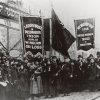 FILE - In this 1911 file photo provided by the National Archives, labor union members gather to protest and mourn the loss of life in the March 25, 1911 Triangle Shirtwaist Factory fire in New York. The fire that raced through a garment factory on Saturday, Nov. 24, 2012 in Bangladesh and killed 112 workers bore eerie echoes of another inferno that burned more than a century ago: the Triangle Shirtwaist factory fire in New York City. (AP Photo/National Archives, File)