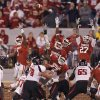 The Sooners try to block a field goal attempt by Texas Tech during the college football game between the University of Oklahoma Sooners (OU) and Texas Tech University Red Raiders (TTU) at the Gaylord Family-Oklahoma Memorial Stadium on Saturday, Oct. 22, 2011. in Norman, Okla. Photo by Chris Landsberger, The Oklahoman