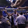 Oklahoma City\'s Kevin Durant (35) is greeted by fans as he walks off the court after the 107-103 win over Denver during the first round NBA playoff game between the Oklahoma City Thunder and the Denver Nuggets on Sunday, April 17, 2011, in Oklahoma City, Okla. Photo by Chris Landsberger, The Oklahoman