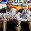 San Antonio\'s Tim Duncan (21) and Tony Parker (9) watch from the bench late in the fourth quarter during Game 3 of the Western Conference Finals between the Oklahoma City Thunder and the San Antonio Spurs in the NBA playoffs at the Chesapeake Energy Arena in Oklahoma City, Thursday, May 31, 2012. Oklahoma City won, 102-82. Photo by Nate Billings, The Oklahoman