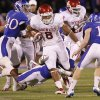 Oklahoma\'s Dominique Whaley (8) runs through the Kansas defense during the college football game between the University of Oklahoma Sooners (OU) and the University of Kansas Jayhawks (KU) on Saturday, Oct. 15, 2011. in Lawrence, Kan. Photo by Chris Landsberger, The Oklahoman