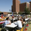 OCU students enjoy a lunch after a voter registration drive on the campus of Oklahoma City University in Oklahoma City, OK, Thursday, Oct. 9, 2008. BY PAUL HELLSTERN, THE OKLAHOMAN